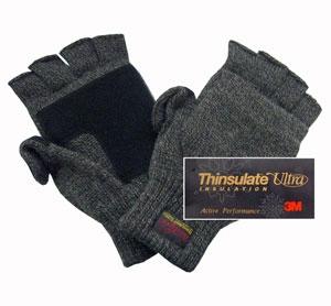 Перчатки с открыв. пальцами с утеплителем Thinsulate тёмно-серые