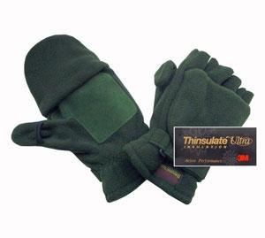Перчатки с открыв. пальцами с утеплителем Thinsulate зелёные