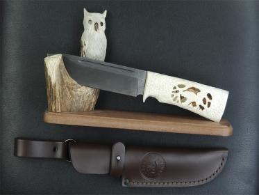 Нож Bizon (Резная кость и рог) на подставке Сова
