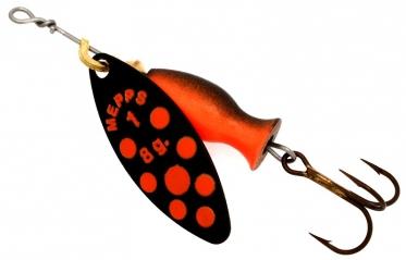 Блесна MEPPS Aglia Long Heavy №1 Black/Orange Dots-Black/Orange