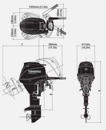 Лодочный мотор Tohatsu MFS 30 EPTL